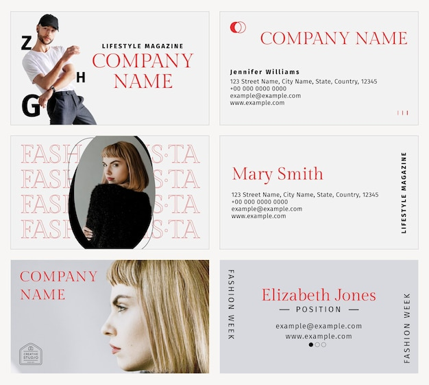 Conjunto de modelo de cartão de visita psd para designer de moda profissional