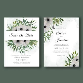 Conjunto de modelo de convite de casamento com buquê de flores em aquarela