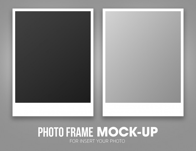 Conjunto de modelo de maquete de quadro de foto polaroid