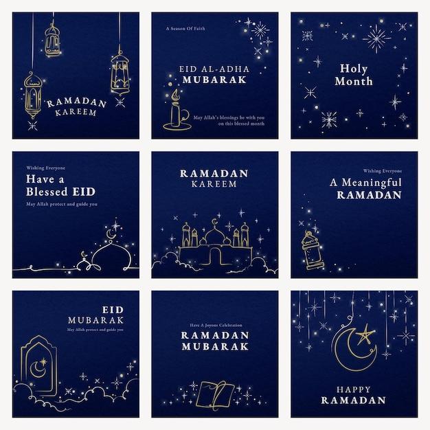 Conjunto de modelo de mídia social ramadan em fundo azul