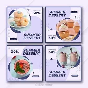 Conjunto de modelo de post de venda de verão do instagram