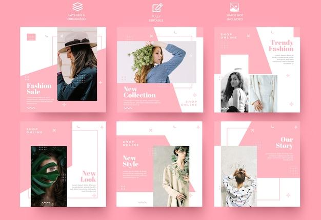 Conjunto de modelo de post e histórias de mídia social rosa minimalista