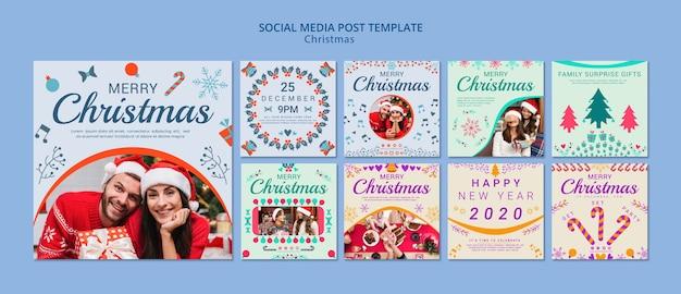 Conjunto de modelo de postagem de mídias sociais de natal