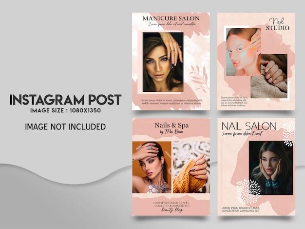 Conjunto de modelo de postagem instagram limpo