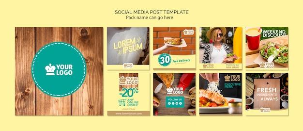 Conjunto de modelo de postagens de mídia social com ofertas de comida deliciosa
