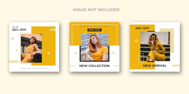 Conjunto de modelos de mídia social de moda