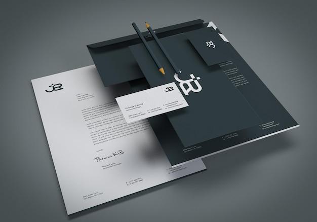 Conjunto de modelos de papelaria para apresentação de marca