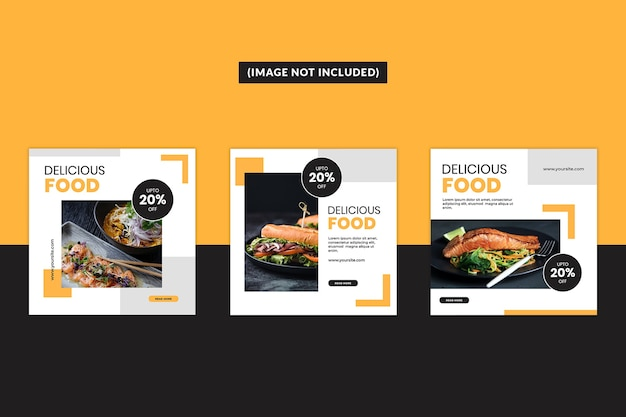 Conjunto de modelos de postagem de mídia social alimentar