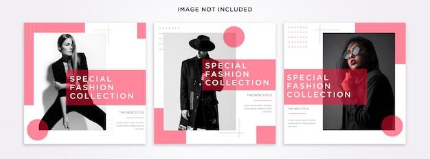Conjunto de modelos de postagem do instagram de moda
