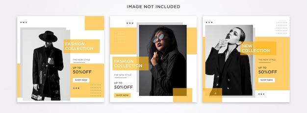 Conjunto de modelos de postagens do instagram da moda