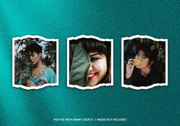 Conjunto de moldura de foto polaroid rasgado maquete psd premium