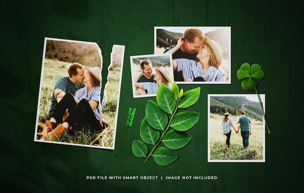 Conjunto de moldura de foto romântica com folhas e enfeites de clipe de papel