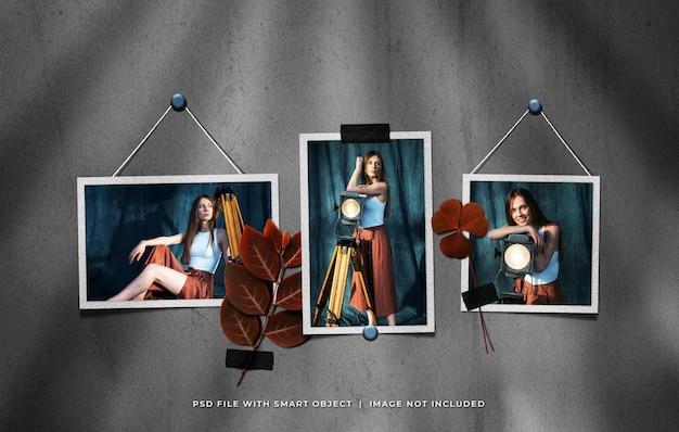 Conjunto de moldura de foto vintage com folhas coladas