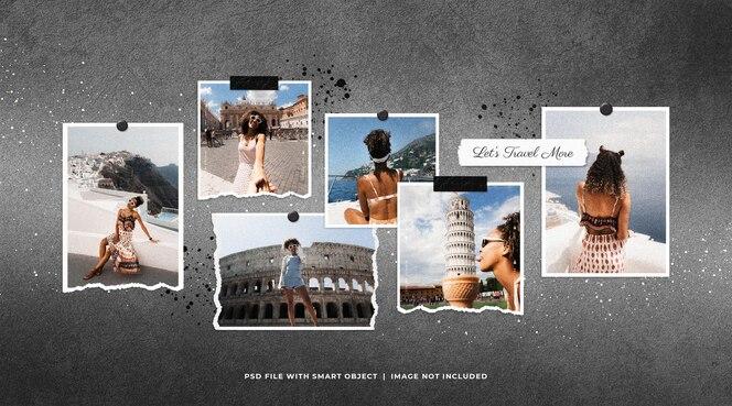 Conjunto de molduras para fotos de viagens moodboard mockup com respingos de tinta