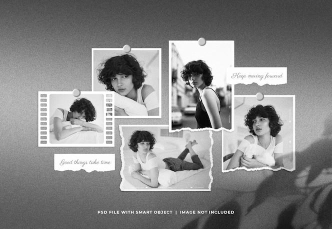 Conjunto de molduras para fotos moodboard mockup de colagem