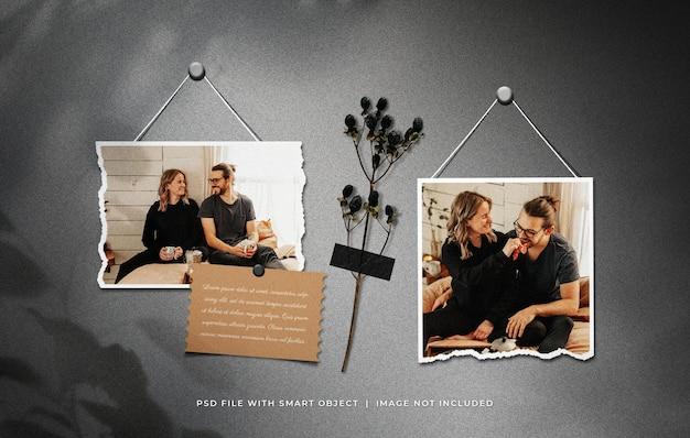 Conjunto de molduras para fotos rasgadas penduradas com enfeite de plantas secas com fita adesiva
