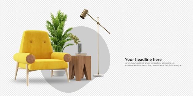 Conjunto de móveis de interior em renderização 3d