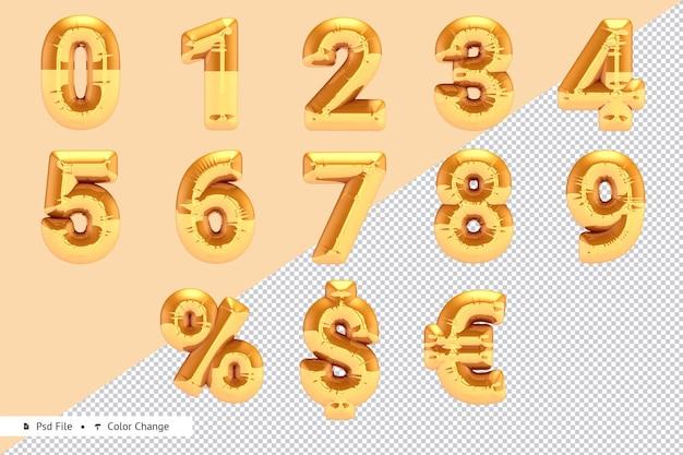 Conjunto de números dourados realistas e renderização em 3d de balão de moeda