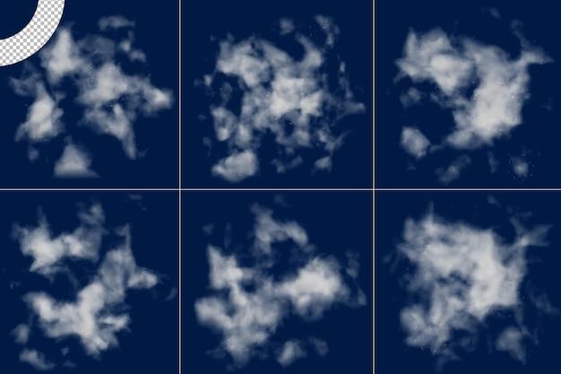 Conjunto de nuvem de nevoeiro realista