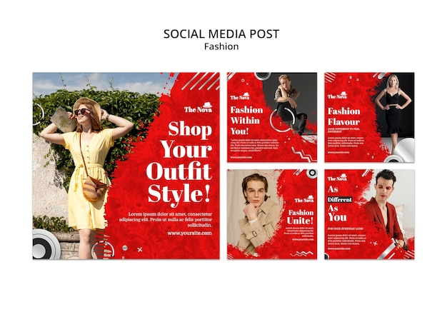 Conjunto de pacote instagram de moda