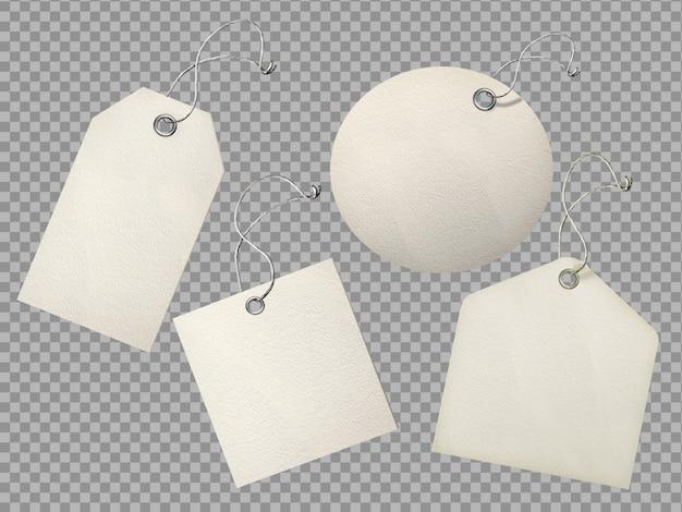 Conjunto de papel texturizado realista rótulo tag em branco