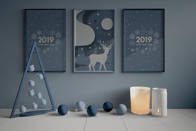 Conjunto de pinturas na parede para o natal