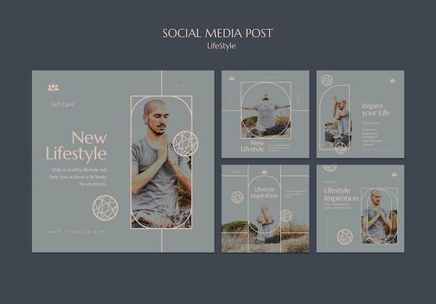 Conjunto de postagens de inspiração de estilo de vida nas redes sociais