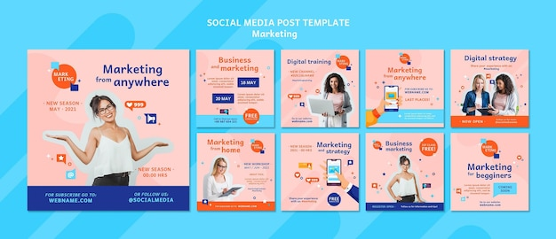 Conjunto de postagens de instagram de marketing