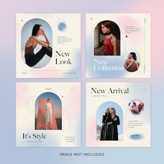 Conjunto de postagens de instagram de moda gradiente