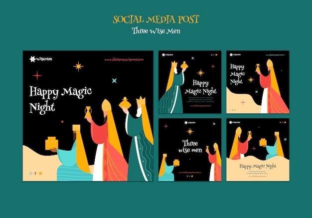 Conjunto de postagens de instagram de três reis magos