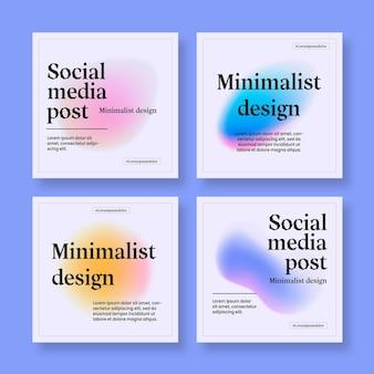 Conjunto de postagens de instagram moderno de gradiente