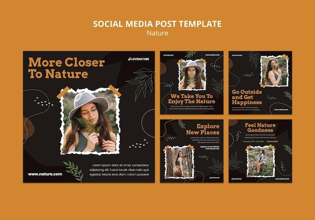Conjunto de postagens de mídia social da nature