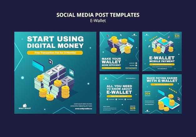 Conjunto de postagens de mídia social de carteira eletrônica moderna