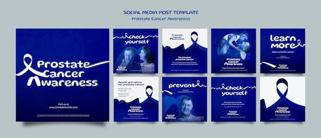 Conjunto de postagens de mídia social de novembro azul
