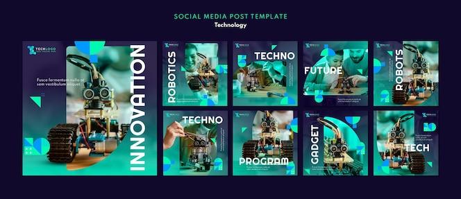 Conjunto de postagens de mídia social de tecnologia