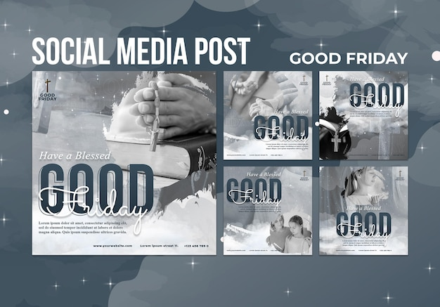 Conjunto de postagens de mídia social na sexta-feira da boa