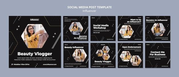 Conjunto de postagens de mídias sociais influenciadoras