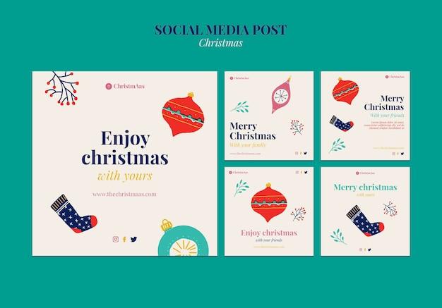 Conjunto de postagens de redes sociais de feliz natal