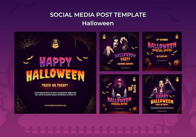 Conjunto de postagens do instagram da festa dark halloween