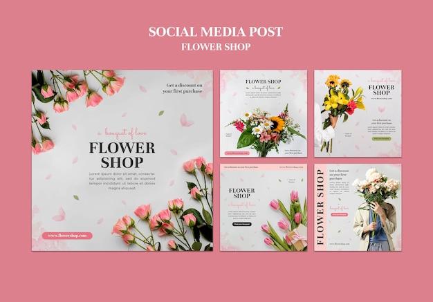 Conjunto de postagens do instagram da loja de flores