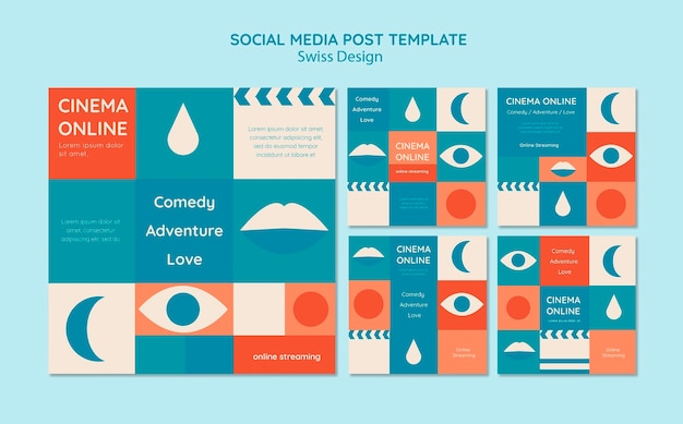 Conjunto de postagens do instagram de design suíço