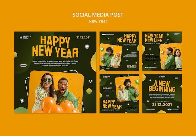 Conjunto de postagens do instagram de feliz ano novo