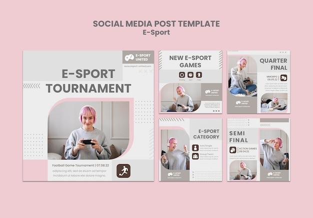 Conjunto de postagens em mídias sociais de e-sports