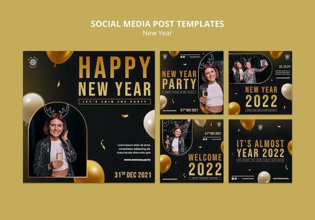 Conjunto de postagens festivas de véspera de ano novo
