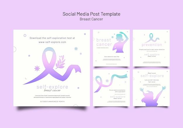 Conjunto de postagens ig de conscientização sobre câncer de mama
