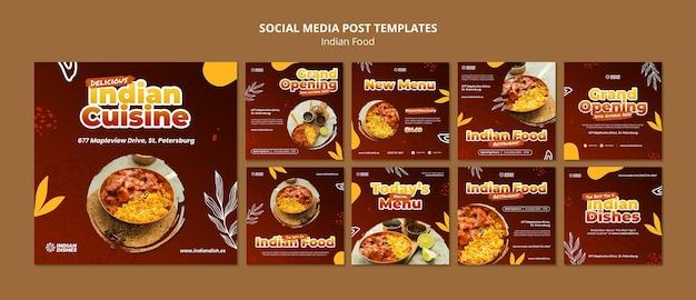 Conjunto de postes ig de restaurante de comida indiana