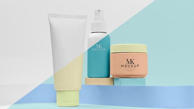 Conjunto de produtos cosméticos de maquete
