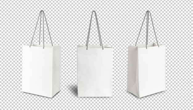 Conjunto de projeto de maquete de sacola de compras de papel branco isolado