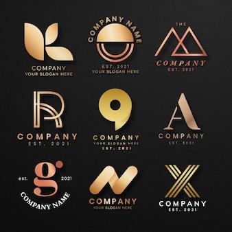 Conjunto de psd de logotipo de negócios de luxo