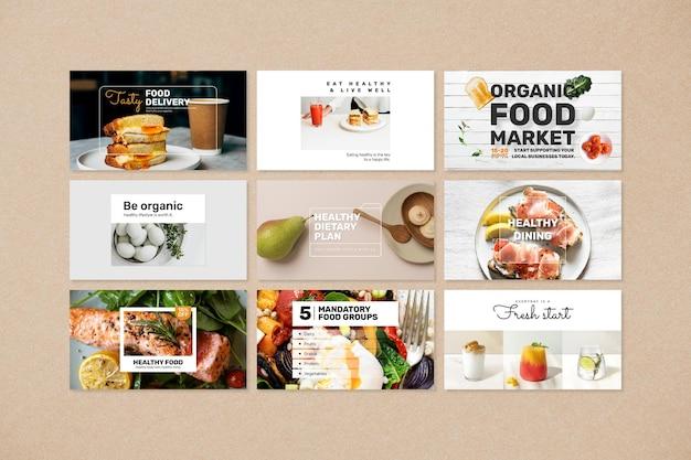 Conjunto de psd de modelo de banner de comida saudável